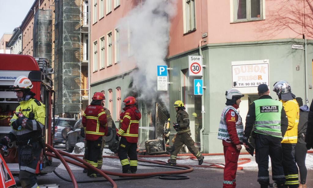 STARTET I BUTIKKLOKALE: Brannen i Urtegata startet i et butikklokale. Foto: Frank Karlsen / Dagbladet