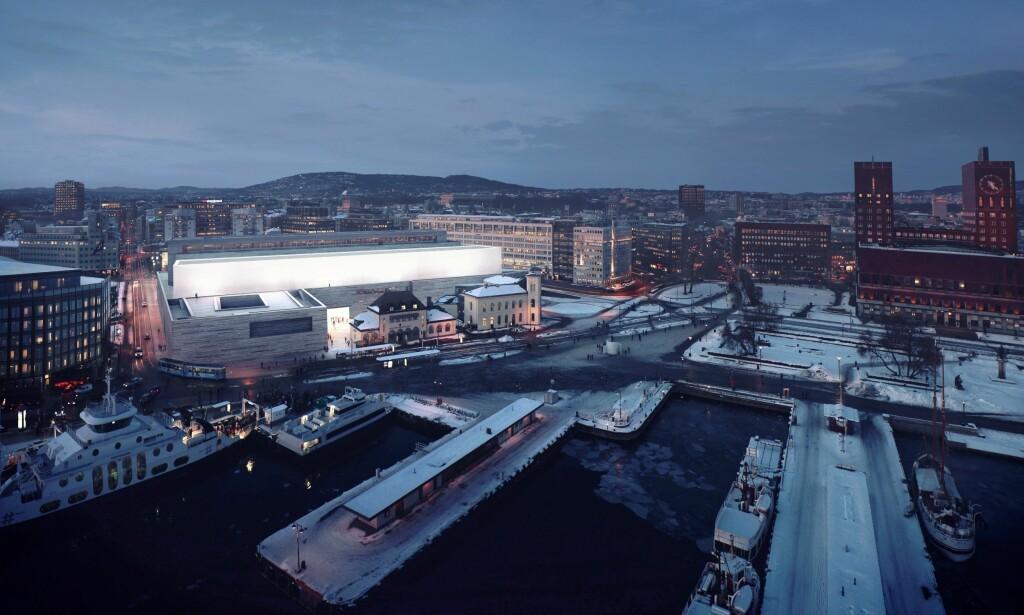 LYSER OPP: Slik skal det nye Nasjonalmuseet se ut, med alabasthallen som lyser opp Oslo. Foto: MIR (illustrasjon), Statsbygg / Kleihues + Schuwerk