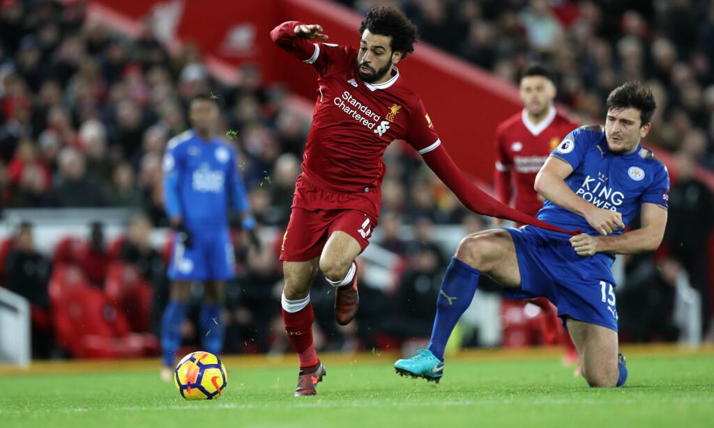 RASK I VENDINGEN: Harry Maguire ble lurt av Salah da lagene møttes i Premier League. Foto: Lynne Cameron/Sportimage via PA Images/NTB Scanpix