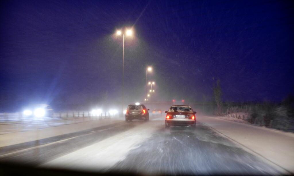 GLATT: Det meldes om svært glatte veier og vanskelige kjøreforhold på Sørlandet. Foto: Illustasjonsbilde