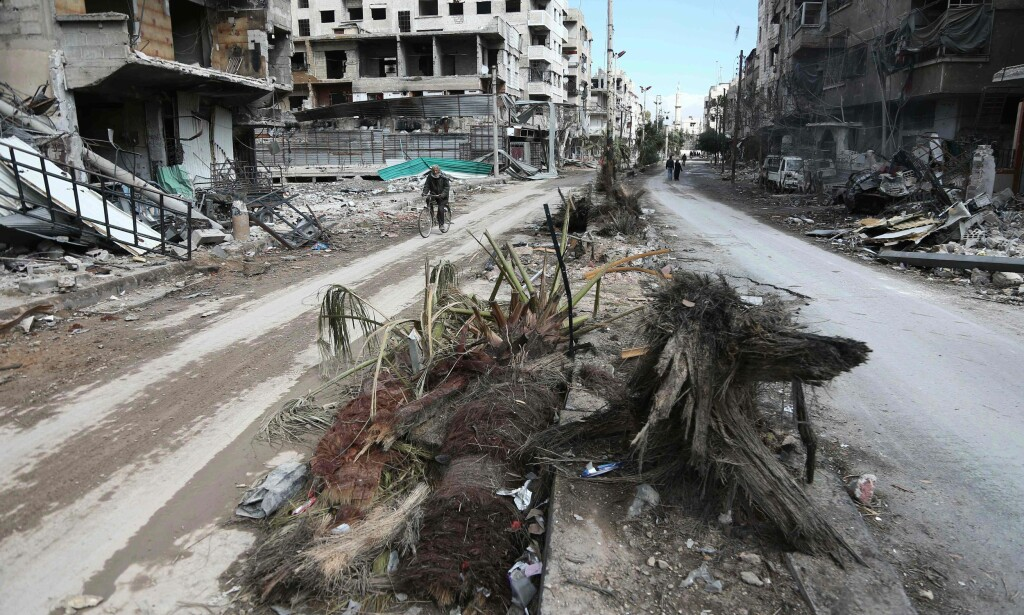 ØDELEGGELSER: Det er store ødeleggelser i krigsherjede Syria. Foto: AFP PHOTO / ABDULMONAM EASSA / NTB scanpix