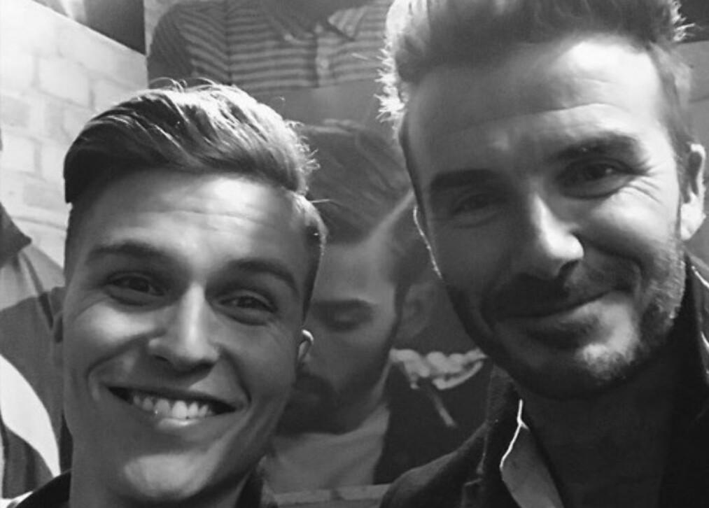 BARNDOMSIDOL: Programleder Atle Pettersen fikk møte sitt store barndomsidol, David Beckham, i London i går. Foto: Skjermdump fra Instagram/atleofficial