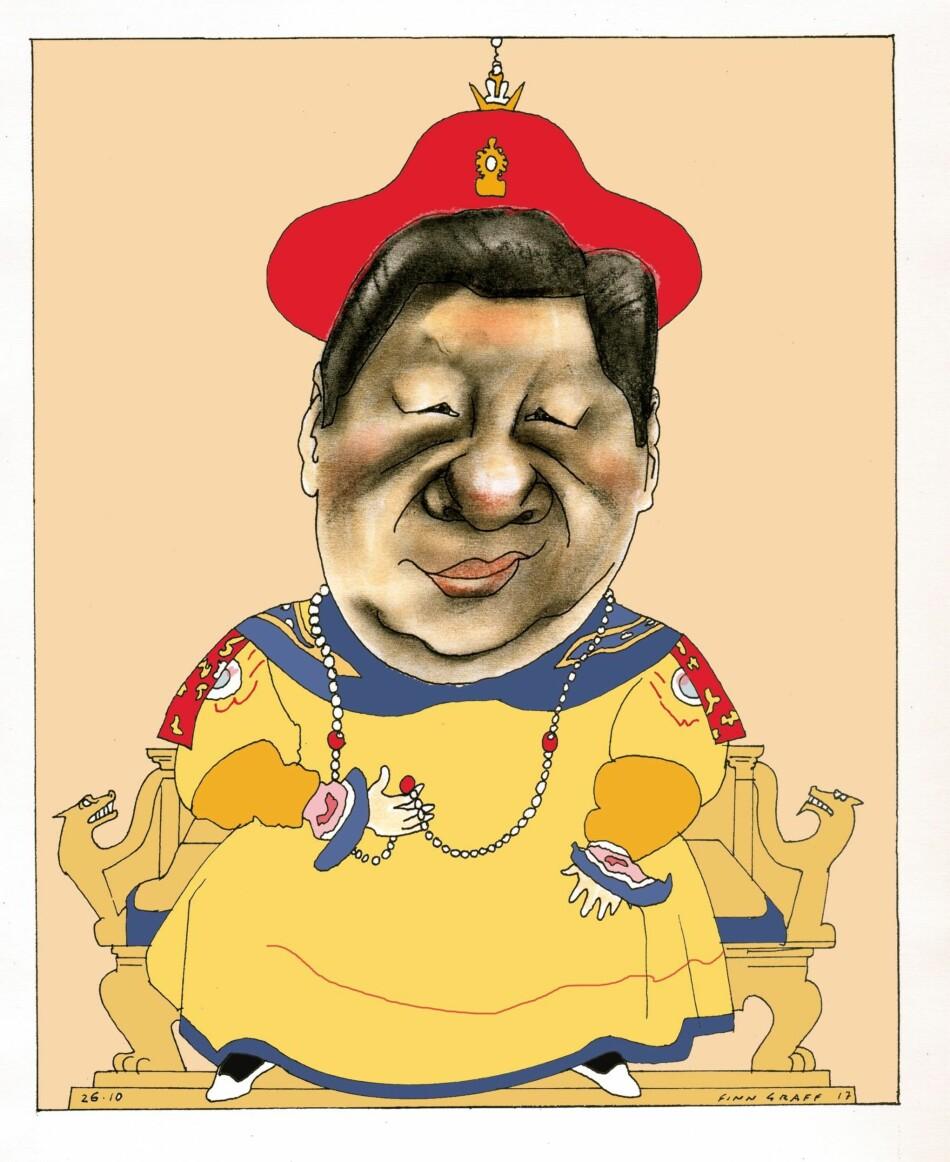 KEISEREN: Denne tegningen av President Xi Jinping lagde Finn Graff i oktober i fjor, da spekulasjonene om de keiserlige ambisjonene begynte å versere.