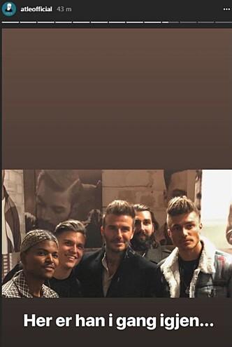 STARSTRUCK: Atle Pettersen fikk sneket seg med på enda et bilde med David Beckham. Foto: Skjermdump fra Instagram/ atleofficial