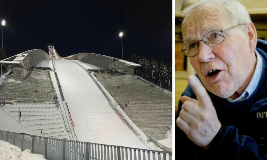 REAGERER: Slik så det ut på tribunen i Holmenkollen under hopp-NM onsdag. Det får NRK-veteranen Arne Scheie til å reagere. Foto: Tore Ulrik Bratland / Bjørn Langsem