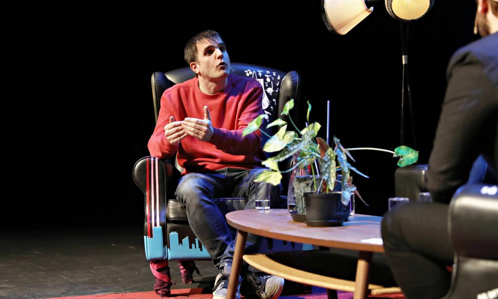 ENGASJERT: Artist og kommentator i Dagsavisen, Aslak Borgersrud, i debatt under årets By:larm-festival. Foto: Christian Roth Christensen / Dagbladet