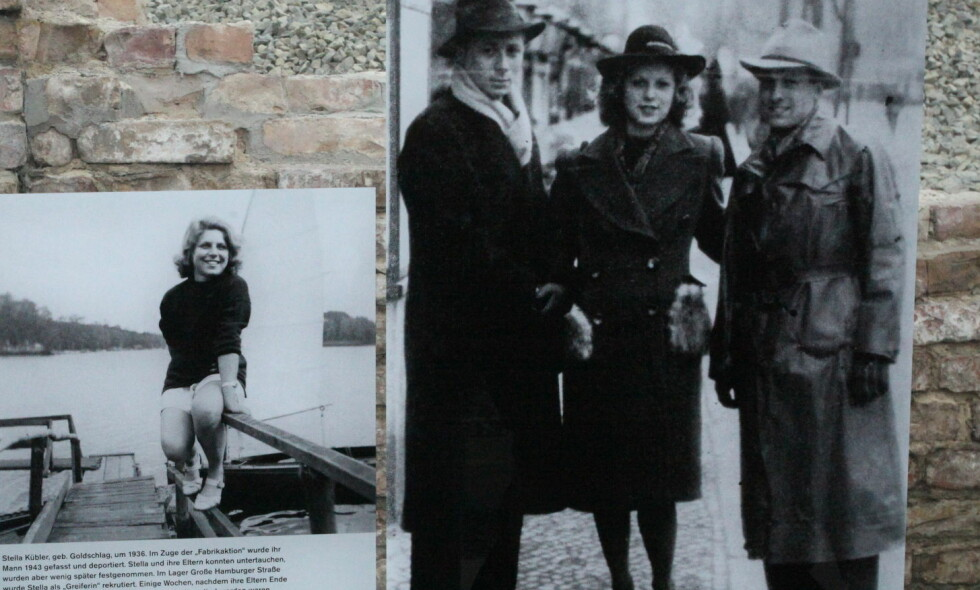 """ANGA ALLE: Stella Goldschlag som ung kvinne i Berlin før krigen og (t.h) som """"jeger i Berlin sammen med sin """"kollega"""" Rolf Isaaksohn. Fra utstilling i Berlin. Foto: Asbjørn Svarstad."""