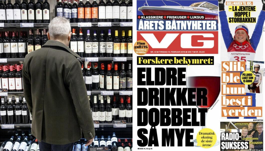 <strong>«Foreskere bekymret:</strong> Eldre drikker dobbelt så mye. Dramatisk økning de siste årene.» Illustrasjonsfoto: NTB Scanpix / Faksimile