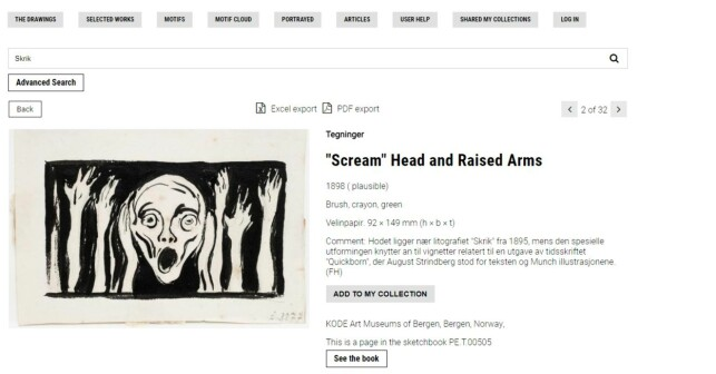 E-MUSEUM: This screenshot shows the database, where you can search among Munch's works of art. PHOTO: Screenshot