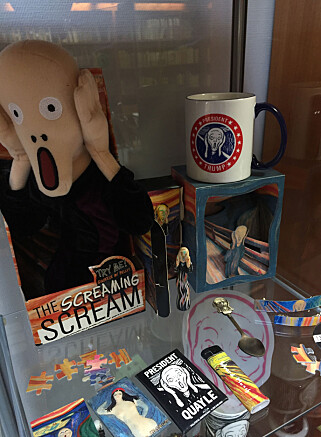 """CABINETT OF HORROR: The Munch Museum's library has collected some of the """"Scream"""" products they view with dread. PHOTO: The Munch Museum"""