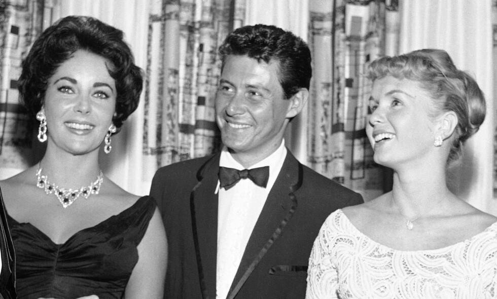 TREKANTDRAMA: Elizabeth Taylor, Eddie Fisher og Debbie Reynolds sto i førersetet for det som skulle bli en av de største Oscar-skandalene noen sinne. Foto: NTB scanpix
