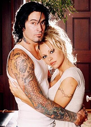KORT EKTESKAP: Etter å ha kjent hverandre i tre dager giftet Pamela seg med rockestjernen Tommy Lee. Foto: Rex Features