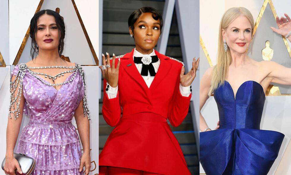 INGEN FARGEKODE: Både skuespiller Salma Hayek, sanger Janelle Monáe og Hollywood-yndling Nicole Kidman gikk for sterke farger på den røpe løperen under nattas Oscar-utdeling. De var ikke alene. Foto: NTB Scanpix