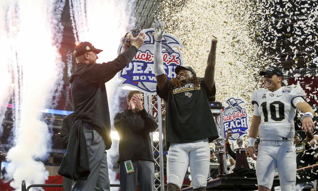 VANT PEACH BOWL: Her feirer Shaquem Griffin seieren i Peach Bowl. Foto: Brett Davis-USA TODAY Sports