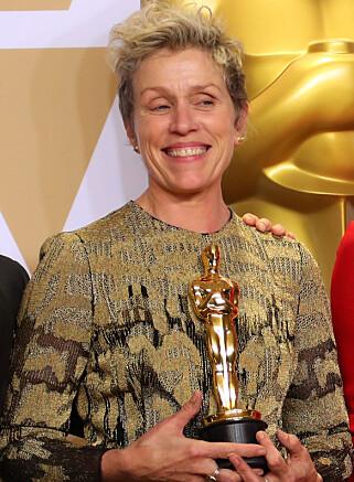 GJEV PRIS: Skuespiller Frances McDormand vant prisen for beste kvinnelige hovedrolle under årets Oscar-utdeling. Foto: NTB scanpix