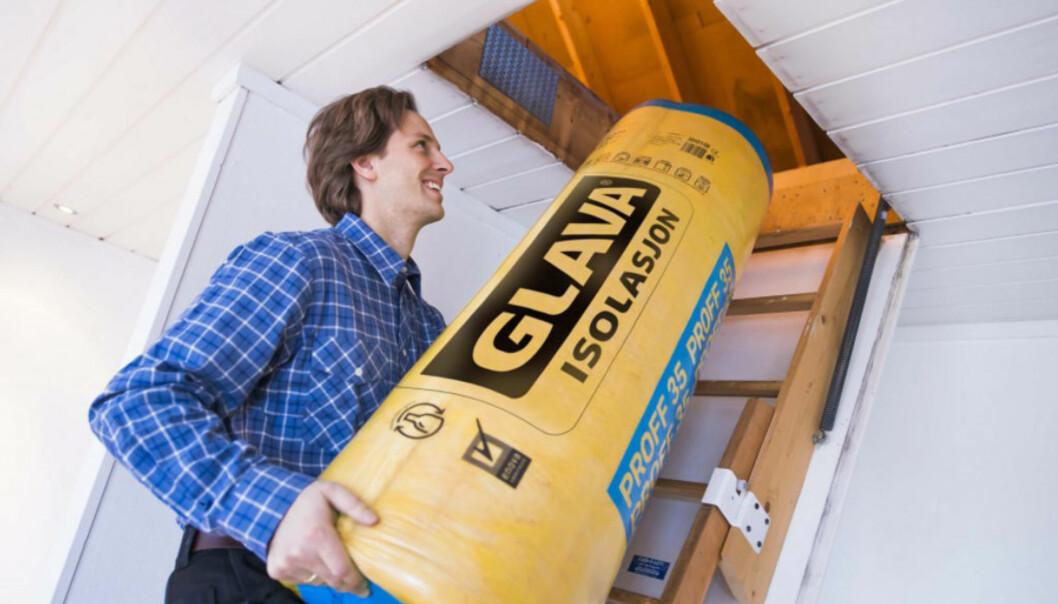<strong>ISOLASJON:</strong> Å isolere på nytt kan være dyrt, men vil gi lavere strømforbruk på sikt. Foto: Glava.