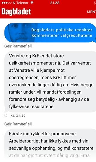 Politisk redaktør Geir Ramnefjell kommenterte direkte på fronten på db.no utover valgkvelden.
