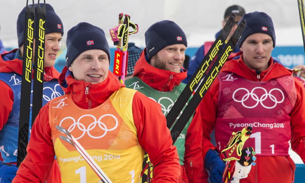 SYK: Simen Hegstad Krüger (foran) har vært syk etter OL. Det gjør ham usikker til femmila i Holmenkollen. Foto: Hans Arne Vedlog / Dagbladet