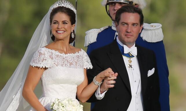 GIFT: Madeleine og Chris giftet seg i 2013. Nå er de trebarnsforeldre. Foto: Lise Åserud / NTB scanpix
