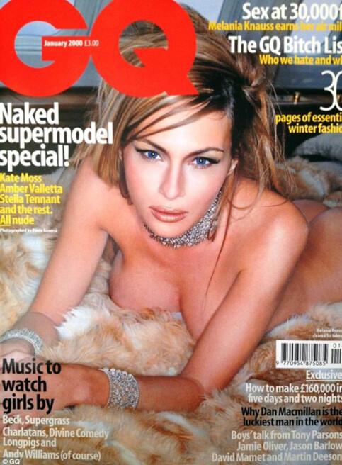 MODELL: Melania Trump stilte kliss naken på forsida av GQ i 2000. Flere peker på at dette kan ha vært noe av grunnen til at hun fikk det såkalte «Einstein-visumet». Foto: Faksimile
