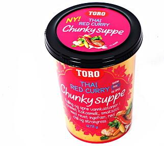 Toros Thai-suppe veier 475 gram og er klar etter tre-fire minutter i mikro.