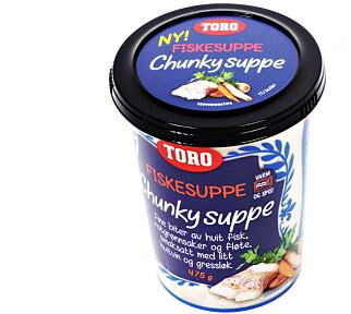 Toros fiskesuppe veier 475 gram og er klar etter tre-fire minutter i mikrobølgeovn.