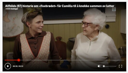 <strong>FØR I TIDEN:</strong> Alfhild Viul (98) har opplevd store endringer gjennom et langt liv, for eksempel hvordan ta vare på mat på best mulig måte. Dette fortalte hun også om i TV2-programmet «Alle Tiders Mat» i fjor. Foto: Skjermdump TV2.