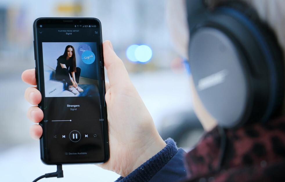 <strong>TRUMFKORTET:</strong> Samsung er snart alene om å ha en toppmodell MED hodetelefon-utgang. Foto: Ole Petter Baugerød Stokke