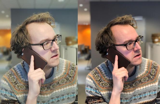 SAMSUNG VS. APPLE: Håret ser ikke så avkappet ut på Galaxy S9+ (til venstre) som det gjør på iPhone 8 Plus (til høyre), og man har også fått med de ekstra hårstråene som titter opp. Fargemessig synes vi kanskje Apples kamera overdriver, samtidig som Samsung kanskje blir litt i blekeste laget. Foto: Kirsti Østvang