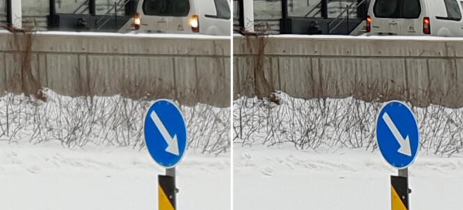 <strong>Her har vi zoomet inn på samme motiv tatt med de to forskjellige blenderåpningene:</strong> f/1,5 til venstre og f/2,4 til høyre. Det siste fremstår skarpere, og har ikke den samme halo-effekten over snøen på muren.