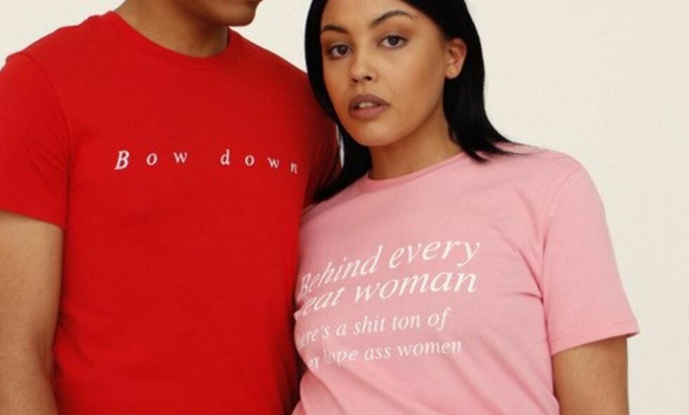 06bfe29a KVINNEDAGEN: Flere merker har laget egne t-skjorter for å støtte  kvinnedagen. Foto