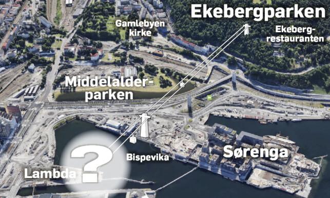 TENKT ILLUSTRASJON: Her ser vi en illustrasjon på hvordan en gondolheis kan gå mellom Bjørvika, her tenkt ved det kommende Munchmuseet, og Ekebergparken - et strekk på nærmere 900 meter i luftlinje. Dagbladgrafikk: Kjell Erik Berg