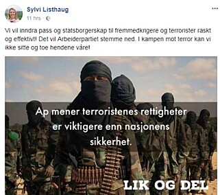 DELT: Sylvi Listhaug delte dette på sin Facebook-profil fredag morgen. Foto: Skjermdump / Facebook
