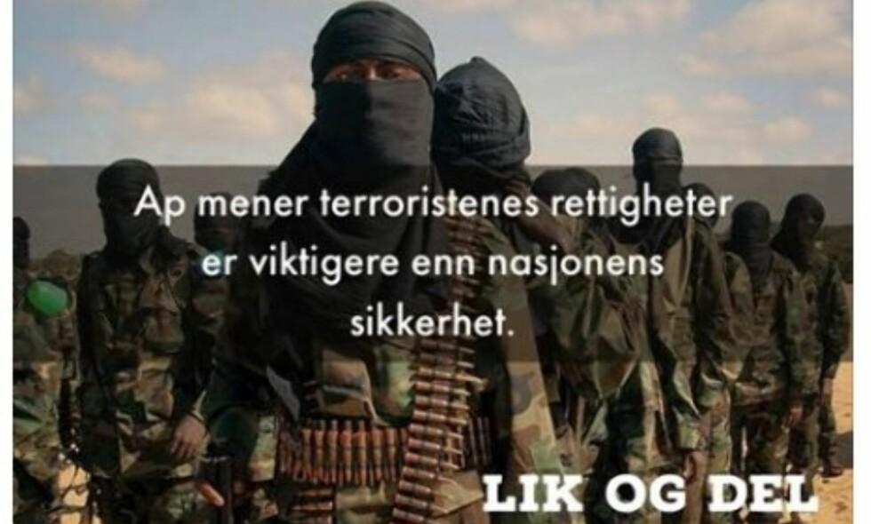 DELT: Dette bildet delte Sylvi Listhaug på Facebook fredag. Foto: Skjermdump / Facebook