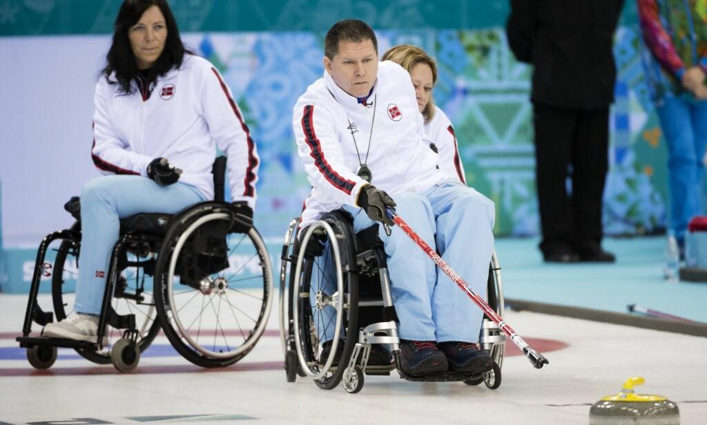 TAP: For skip Rune Lorentsen og det norske mix-laget. Dette bildet er fra Paralympics i 2014. Foto: NTB Scanpix
