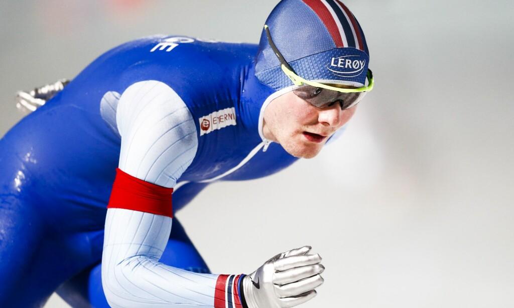 GULLSJANSER: Sverre Lunde Pedersen har svært gode muligheter til å vinne allround-VM senere i dag. Foto: AFP PHOTO / ANP / Vincent Jannink / Netherlands