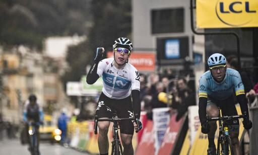 NY SEIER: David de la Cruz vant den avsluttende etappen av Paris-Nice i 2017 også. Søndag gjentok han seieren etter å ha spurtslått Omar Fraile. FOTO: AFP PHOTO / JEFF PACHOUD