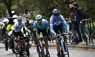 ANGREP: Marc Soler, Omar Fraile og David de la Cruz animerte den siste etappen av Paris-Nice. FOTO: FOTO: AFP PHOTO / JEFF PACHOUD