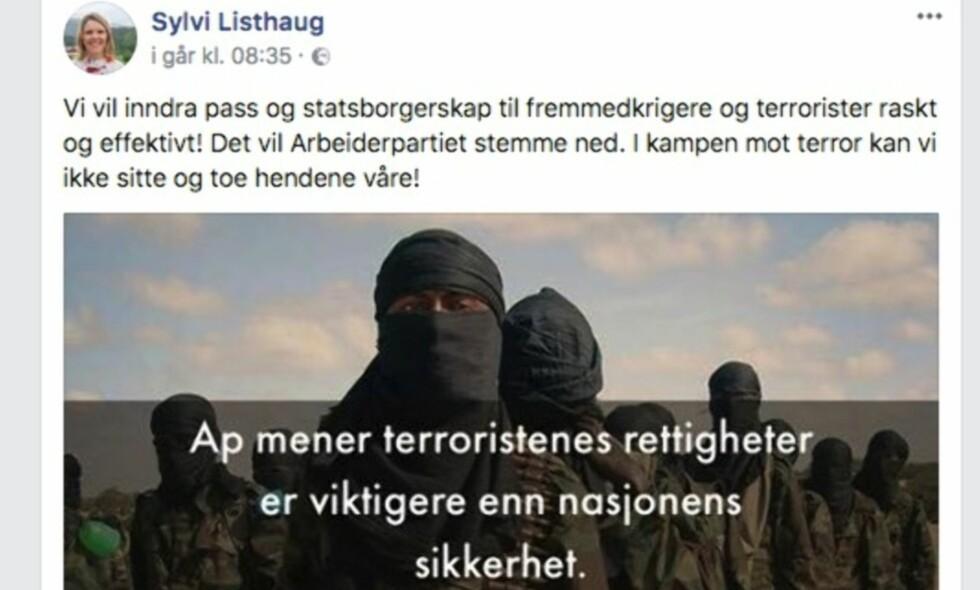 HADDE IKKE RETT TIL Å BRUKE BILDET: Justisminister Sylvi Listhaug brukte dette bildet uten lov, ifølge rettighetshaverne. Nå kan hun forvente seg en regning. Skjermdump: Facebook