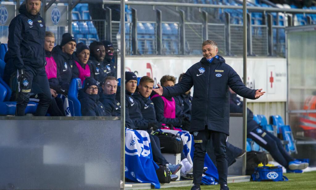 BLID: Moldes manager Ole Gunnar Solskjær smilte bredt utover i storseieren mot Sandefjord. Foto: Svein Ove Ekornesvåg / NTB scanpix