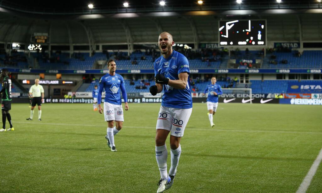 JUBLET: Erik Hestad jublet hemningsløst etter at han scoret Moldes fjerde mot Sandefjord. Foto: Svein Ove Ekornesvåg / NTB scanpix
