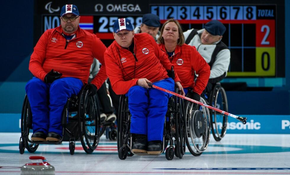 VERDENSMESTRE: Det norske landslaget i rullestolcurling tok VM-gull i Sør-Korea i fjor. Samme hall brukes under Paralympics. Foto: Thomas Lovelock / OIS / IOC / SilverHub / REX / Shutterstock.