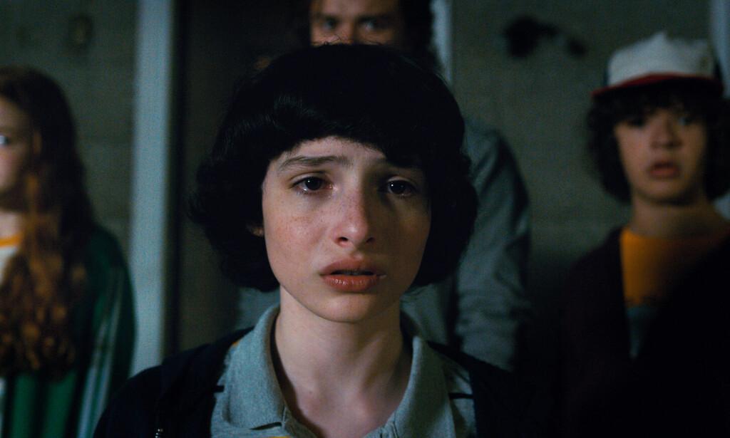- TA KONTAKT OM FIRE ÅR: En kvinnelig modelln ba den 14-årige «Stranger Things»-stjerna Finn Wolfhard ta kontakt når han er blitt «lovlig». Foto: Netflix