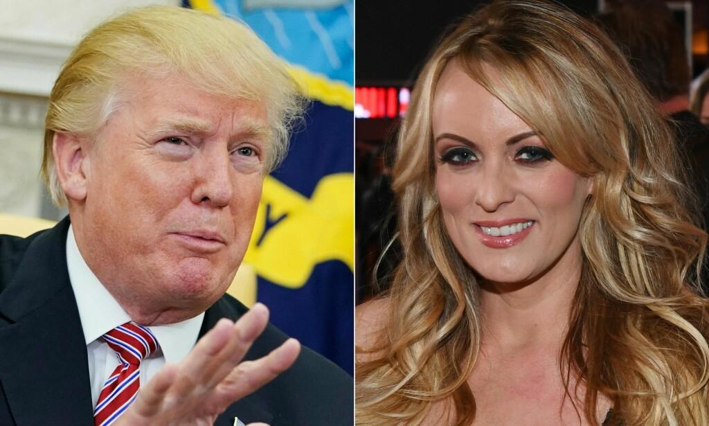 I BITTER KONFLIKT: President Donald Trump nekter for å ha hatt noe med Stormy Daniels å gjøre. Nå kjemper sistnevnte for å oppheve den omdiskuterte taushetsavtalen. Foto: NTB Scanpix