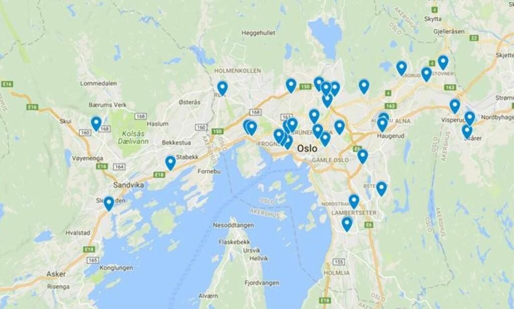 HER FORSVINNER KJØTTET: Kartet viser hvor tyvene har vært og forsynt seg med dyrt kjøtt i Oslo-området. Ill.: Skan-Kontroll