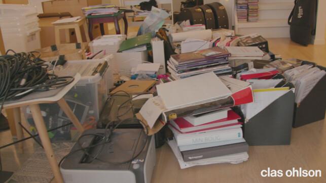 ROTELASS: Alt dette fikk plass inne på Elin og Jarles lille hjemmekontor.