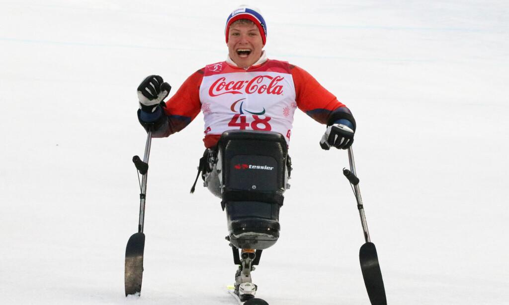 PYEONGCHANG: Jesper Saltvik Pedersen ble endelig nummer en i storslalåm for sittende under vinter-Paralympics. Foto: Geir Owe Fredheim / Norges Idrettsforbund / NTB scanpix