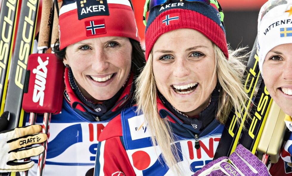 VENNER: Marit Bjørgen og Therese Johaug. Foto: Hans Arne Vedlog / Dagbladet