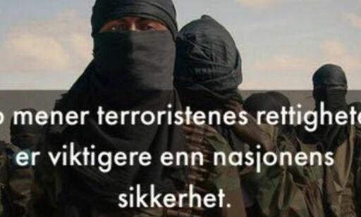 image: - Potensielle terroristers rettssikkerhet går foran nasjonens sikkerhet