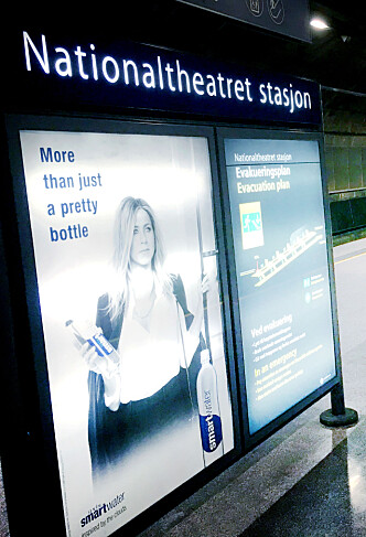 <strong>KOMMET TIL NORGE:</strong> Jennifer Aniston reklamerer nå for Smartwater i Norge. Målet er ifølge Coca-Cola å bli et «nisjeprodukt» og et «premiummerke». Foto: Ole Petter Baugerød Stokke